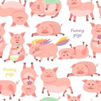 Бесшовный узор со свиньями