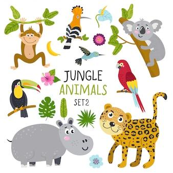 Векторный набор милых животных из джунглей и растений