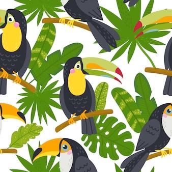 ジャングルからかわいいオオハシとのシームレスなパターン