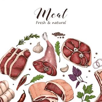 さまざまな色の肉のベクトルの背景