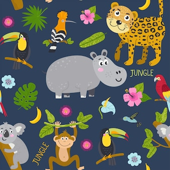 Бесшовный фон с милыми животными из джунглей