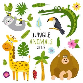 ジャングルからかわいい動物のセット