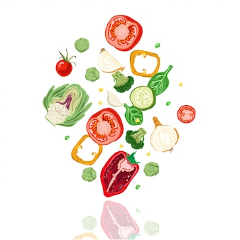 Падающие овощи.