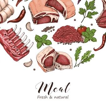 Векторный фон с мясом разного цвета
