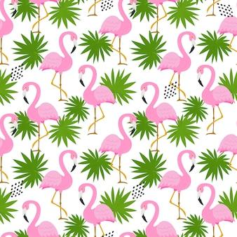 かわいいフラミンゴとのシームレスなパターン