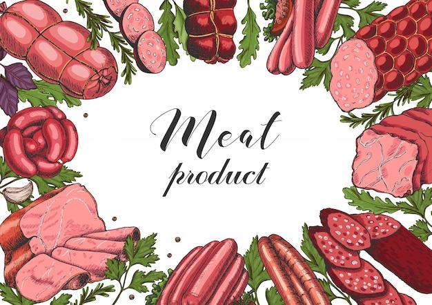 異なる色の肉製品と水平の背景