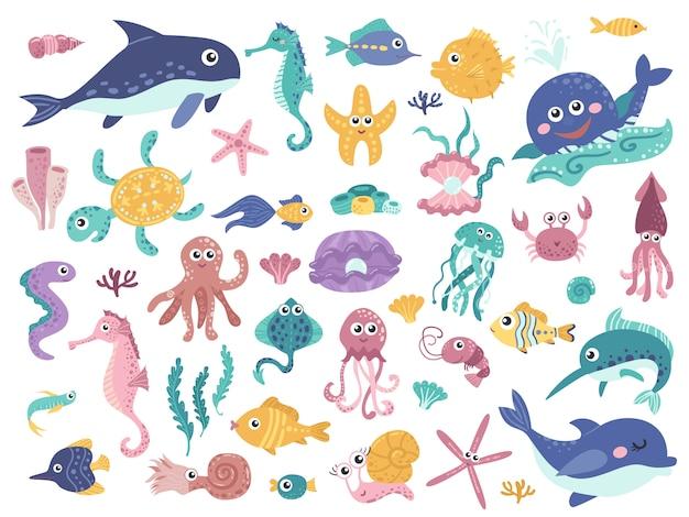 Большой набор милых морских обитателей.
