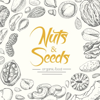 ナッツと種子の背景