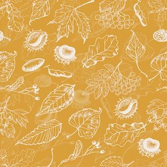 葉と種子の秋のシームレスパターン
