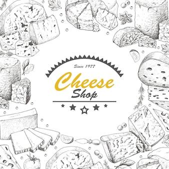 チーズ製品のベクトルの背景