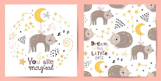 Бесшовные и открытка с милой кошкой