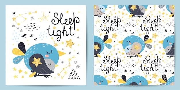 シームレスパターンとかわいい鳥のカード