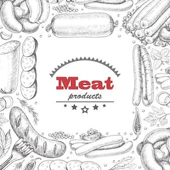 Векторный фон с мясными продуктами