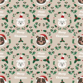 クマとクリスマスのシームレスパターン
