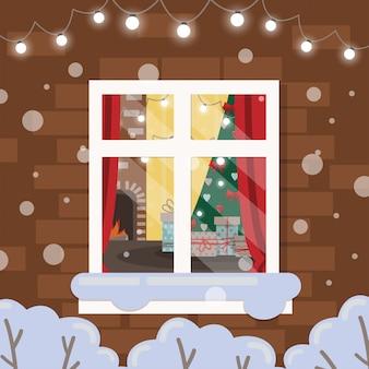 レンガの壁のクリスマスウィンドウ