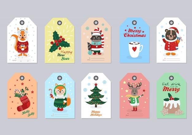 Рождественские бирки с лесными животными