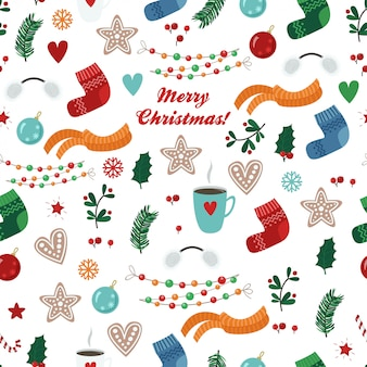 クリスマスアイテムとシームレスなパターンベクトル:靴下、スカーフ、カップ、クッキー、ボール、花輪、枝、葉
