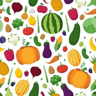 Бесшовный фон с овощами, фруктами и ягодами
