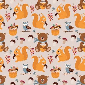 Бесшовный фон с милыми медведями, белками, совами