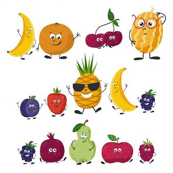 漫画のスタイルで分離された果物