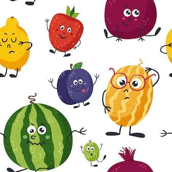 かわいい果物とのシームレスなパターン