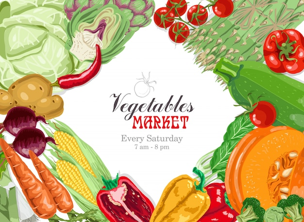 Векторный фон с овощами