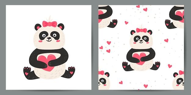 かわいいポスターとパンダとのシームレスなパターンのセット。