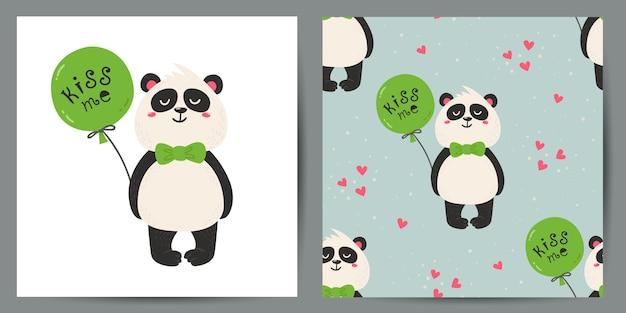 かわいいポストカードとパンダとのシームレスなパターンのセット。