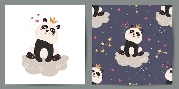Набор милые открытки и бесшовные модели с пандами.