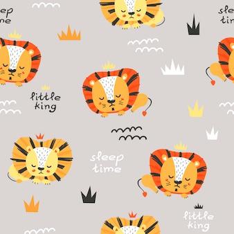 かわいいライオンとのシームレスなパターン。