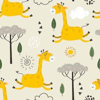 Безшовная картина с милыми жирафами