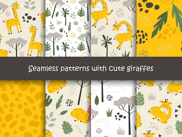 Набор бесшовных паттернов с жирафами и растений.