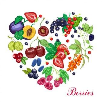 様々な果実から成っているベクトル心