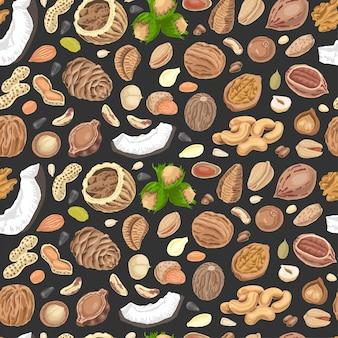 色付きナッツと種子のシームレスパターン