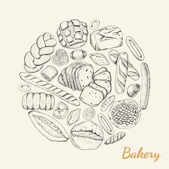円形に配置された様々なベーカリー製品