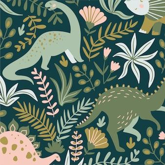 水彩動物の花の葉のシームレスなパターン背景