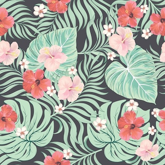 水彩花の葉のシームレスパターン