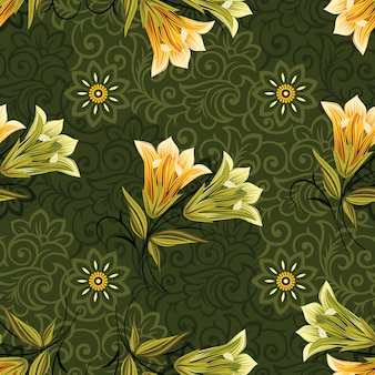Акварельные цветочные листья бесшовные модели