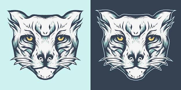タイガーヘッドマスコットロゴイラスト