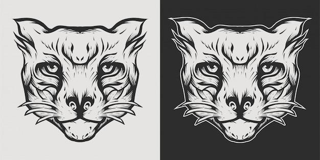 タイガーヘッドのロゴの線画