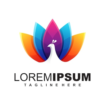 Шаблон логотипа павлина