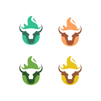 牛の火イラストベクトルテンプレート