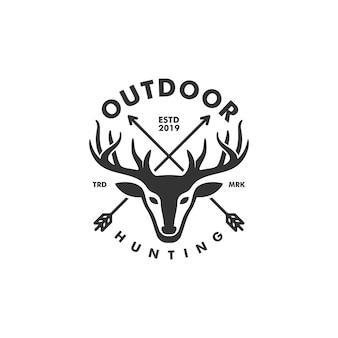 鹿狩りの概念図ベクトルテンプレート