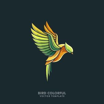 鳥のカラフルなラインアートイラストベクターデザインテンプレート