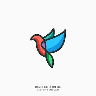 鳥のカラフルな線画ベクトル