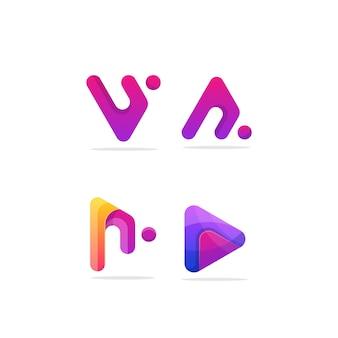 カラフルなデザインの三角形のベクトルのロゴのテンプレート