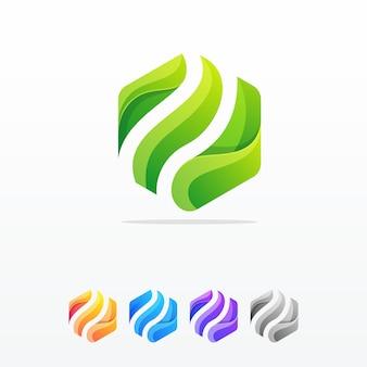 六角形の抽象的なロゴデザインベクトルテンプレート