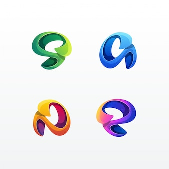抽象的なカラフルなロゴセットベクトルテンプレート