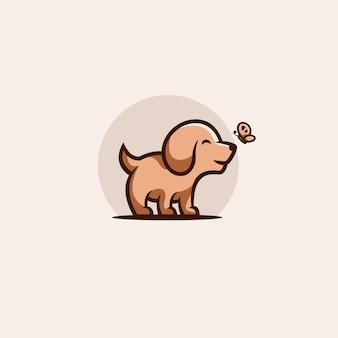 Иллюстрация милой собаки плоского дизайна