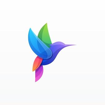 グラデーションのカラフルな鳥の図